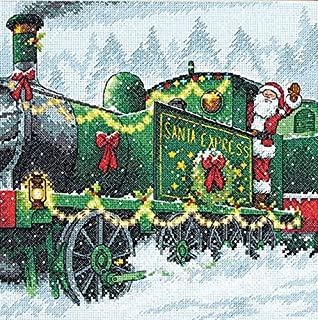 Dimensions Santa Express Counted Cross Stitch Kit, 14 Count Blue Aida, 10'' x 10''