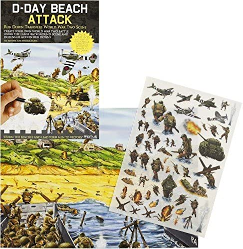 D-Day Beach Attack - Rub Down Transfers World War 2 Battle Scene by Buzz