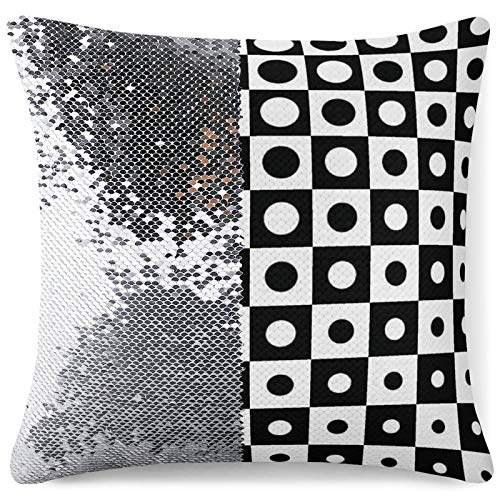 Tamengi Sequin Pillow Cover, Black and White Circular Grid Rules Change Visual Art, Zipper Pillowslip Pillowcase, Decorations for Sofas, Armchairs, Beds, Floors, Cars