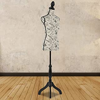 Female Mannequin Torso Height Adjustable Display Mannequin Woman Body Dress Form Stand Cover Sewing Manikin Black Tripod Stand Monogram Style Body 60-67 Inch for Display Clothes Display Jewelry - Bei