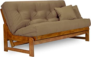 Arden Futon Set - Full Size Futon Frame with Mattress Included (8 Inch Thick Mattress, Twill Khaki Color), More Colors Available, Heavy Duty Wood, Popular Sofa Bed Choice