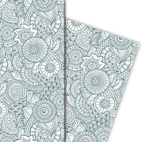 Kartenkaufrausch Floral Design cadeaupapier, groen wit 4 vellen, 32x47,5 cm, decoratiepapier, inpakpapier om in te pakken, designpapier, scrapbooking om te knutselen