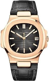 Time Warrior LGXIGE 2019 Quartz New Luxury Elegant Watch Men، Watch for Men بند چرم مشکی آنالوگ ساعت مچی Patek Style