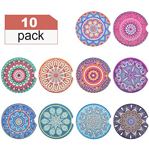 REKOBON Car Coasters Absorbent Ceramic for Cup Holder - Set of 10 Pack, 2.56 Auto Coasters Ceramic with Cork Base, Keep Vehicle Free from Cold Drink Sweat