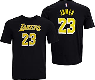 OuterStuff Lebron James Los Angeles Lakers #23 Youth Player Name & Number T-Shirt Black (Youth Small 8)