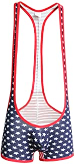 sandbank Men American Flag Wrestling Singlet Jockstrap Bodysuit Active Underwear