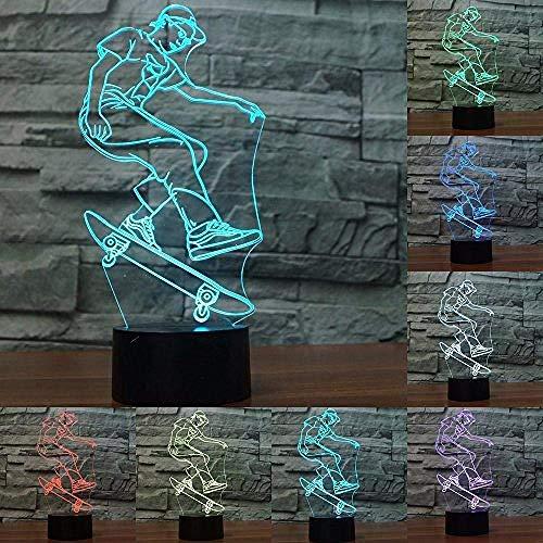 3D Nachtlicht Skateboard Modell 3D Nachtlicht LED USB Licht bunt kreatives Geschenk 3D Deko Licht als Geburtstagsgeschenk