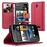 Cadorabo Hülle für HTC Desire 500 in Karmin ROT - Handyhülle mit Magnetverschluss, Standfunktion & Kartenfach - Hülle Cover Schutzhülle Etui Tasche Book Klapp Style