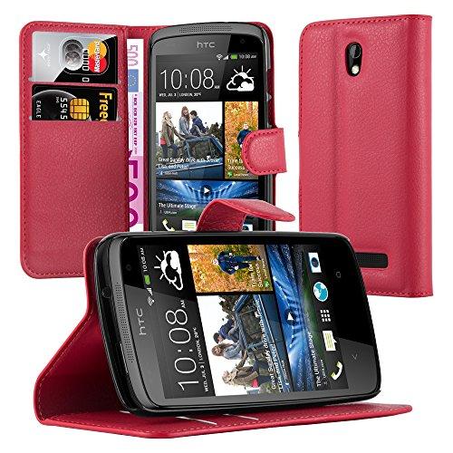 Cadorabo Hülle für HTC Desire 500 - Hülle in Karmin ROT – Handyhülle mit Kartenfach und Standfunktion - Case Cover Schutzhülle Etui Tasche Book Klapp Style