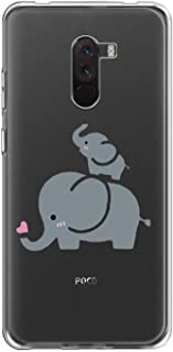 Suhctuptx Compatible for Xiaomi Pocophone F1 Case Clear with Design Cute Pattern Crystal Transparent Soft Hybrid TPU Silicone Shockproof Bumper Protective Back Cover(2 Elephants)