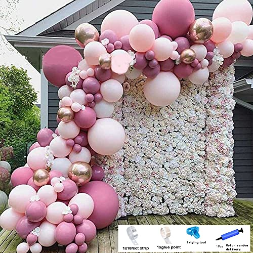 king's deal 101 Pcs Balloon Garland Arch Kit Balloons-Baby Shower Wedding Birthday Bachelorette Engagements Anniversary Party Backdrop DIY Decorations Balloons (pink+Rose red)