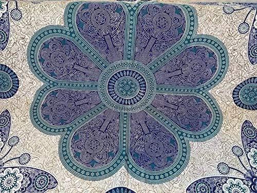Goodforgoods Decoración con Mandala y Elefantes India Colcha Sofá Cama Tapiz Pared Pareo Playa Piscina Terraza 100% Algodón XXL Hippie Bohemios Yoga Meditación 210x240cm. (Azul, 210x240)