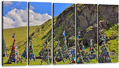 5 Panel shaman adak tree, prayer's flag, mongolia rebirths and pictures Canvas Pictures Decoration Home Modern Landscape Unframed Artwork for Living Room Bedroom Decor Wall Art Pictures