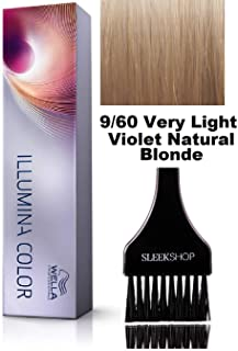 Wella ILLUMINA Permanent Creme Haircolor Dye (with Sleek Tint Brush) Sheer Light Cream MicroLight Hair Color (9/60 Very Light Violet Natural Blonde)