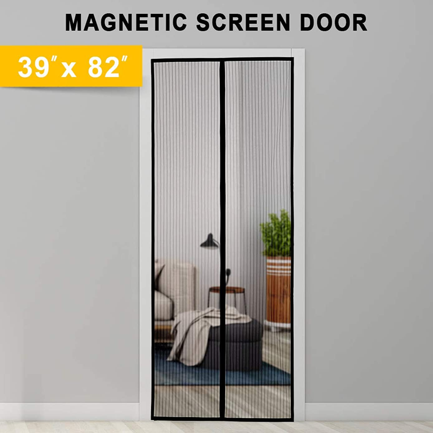 Titan Mall Magnetic Screen Door with Super Tight Self Closing Magnetic Seal and Durable Polyester Mesh, Full Frame Mounting Tape, Fits 39