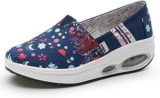 86a1b9a0 LFEU Zapato de Cuña Creepers Lienzo Zapatillas Tacón Para Mujer Plataforma  Sneakers loisir 35-40