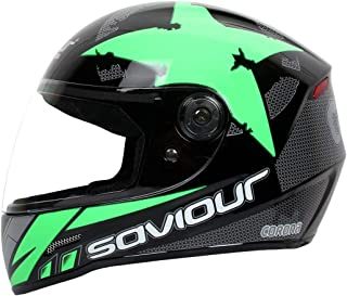 SAVIOUR GTX Corona Full Face Helmets for Mens (ISI Certified) 580 mm-Medium, Plain visor, (GREEN)