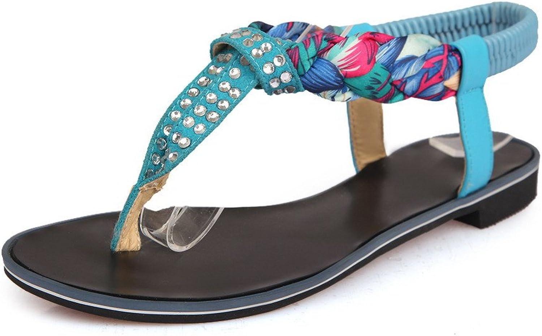 AmoonyFashion Women's Split Toe Low-Heels Soft Material Assorted color Elastic Sandals