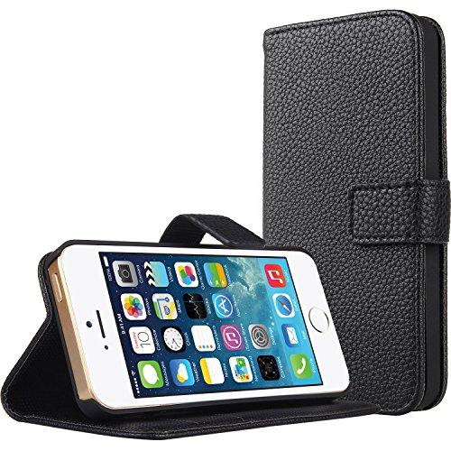 Bestwe Schwarz Flip LederTasche für Iphone 5S 5 Hülle