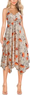 FORTRIC Women Sleeveless Adjustable Strap Summer Beach Floral Flare Swing Dress