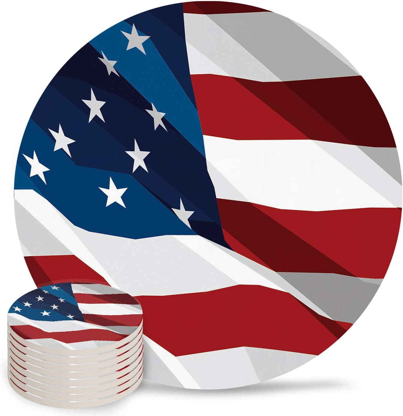 Independence Day Coasters for OFFer Drinks Flag American Super beauty product restock quality top! Cer Absorbent