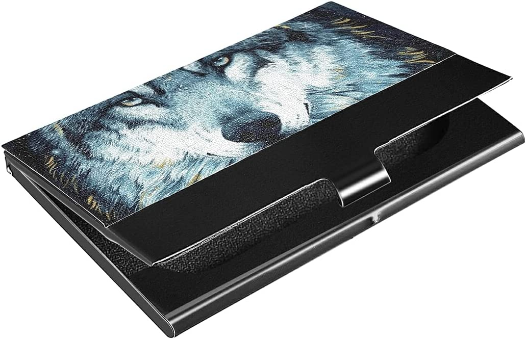 Wolf Business Card Free shipping Holder Professional Case New item Leather PU