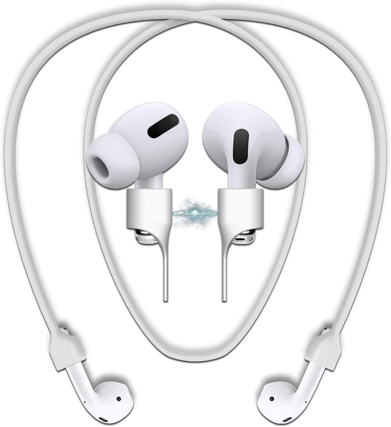 cobcobb Airpods Strap Magnetic Cord Anti-Lost Leash Sports String Accessories for Airpods Pro/2/1 (White)