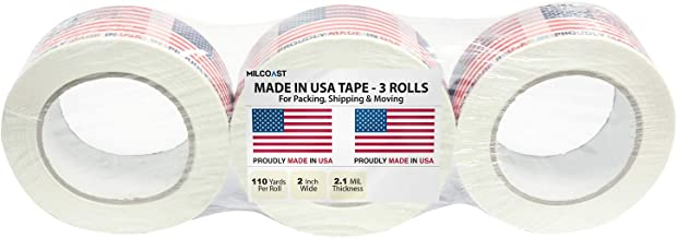 Milcoast Proudly Made in USA American Flag Packing Shipping Moving Tape - 2 Inches Wide, 2.1 MIL Thickness (3 Rolls, 110 Yards Per Roll)