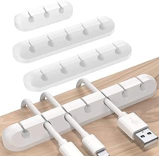 6, Peque/ño | Negro antracita Sujetacables organizador Sujeta cables para escritorio. Clips para cables con adhesivo