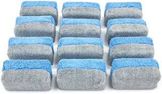 Autofiber [Saver Applicator Terry] Ceramic Coating Applicator Sponge | 12 Pack | with Plastic Barrier to Reduce Product Waste. (Blue/Gray, Mini)