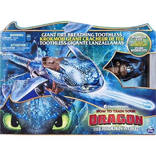 Dragons- How to Train Your DreamWorks, Krokmou géant 50cm avec Effet cracheur de feu et Couleur bioluminescente, pour Les Enfants à partir de 4Ans, 6045436, Multicolor