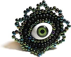 Green Evil Eye Ring Beaded Adjustable Jewelry