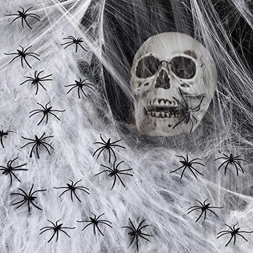 Spinnennetz, 200G Spinnweben Deko Mit 60 StüCk GefäLschten Spinnen, Halloween Spinnennetz Dehnbar üBer 1000 Quadratfuß, Halloween Dekoration Spinnennetz FüR Halloween Party Dekoration