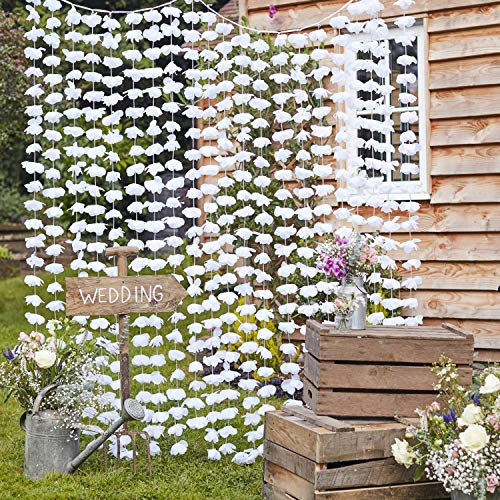 Ginger Ray White Faux Flower Wedding Day Photobooth Backdrop Wall Decoration Rustic Country