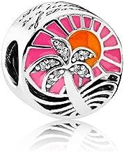 Romántico Amor Tropical Sunset Palm Trees on Ocean Beach Charm Nature Silver Bead fit Pandora Bracelets