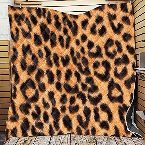 Fansu Colcha Acolchada Fina Suave Cubrecama Rellenos Finos Toda Temporada Edredón Colchas Bouti Cama 90/135/150, Estampado de Leopardo 3D Manta para Sofa (10,96 * 114cm)