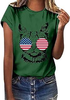 Camiseta Bandera Americana y Gato