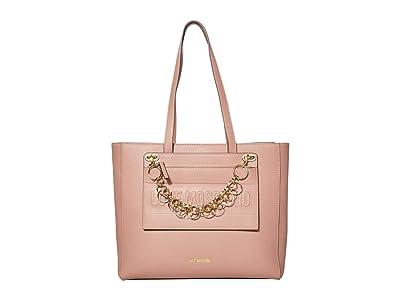 LOVE Moschino Chained Love Tote (Pink Powder Calf PU) Handbags