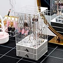 Sooyee Clear Jewelry Box for Women,Ring Earrings Necklace & Bracelet Hanger Acrylic Jewelry Storage Display Case,Large(3 Vertical Drawers 2 Ice Velvet Drawers)