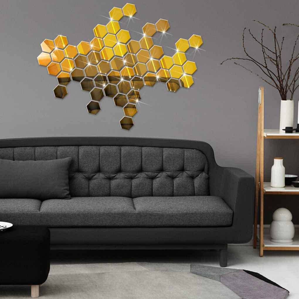zhibeisai 12pcs//set 3D Mirror Hexagon Removable Wall Sticker Decal Mirror Wall Sticker Hexagon Home Decor Art DIY 46x40x23mm Gold Gold