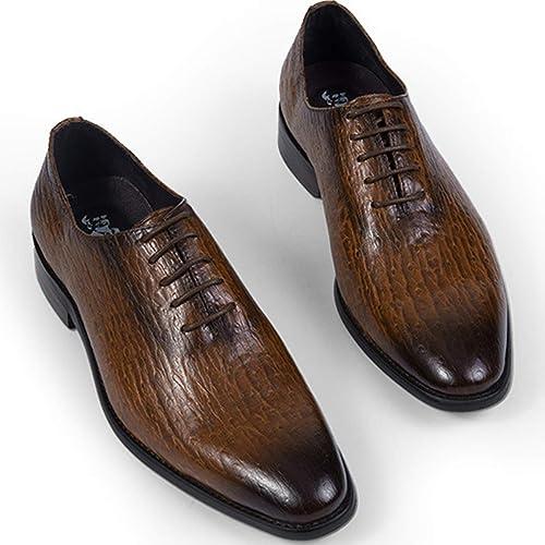 XWQYY Chaussures habillées en Cuir pour Hommes d'affaires Décontracté Chaussures pour Hommes Chaussures de Mariage en Angleterre Chaussures à Fond Mou,marron-44EU