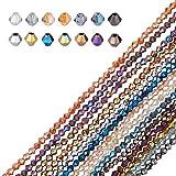 AHANDMAKER 1400 Uds Cuentas de Cristal Facetadas Chapadas En Arcoíris de 4 mm con Orificio de 1 mm para Pulsera, Collar, Fabricación de Joyas, 14 Colores