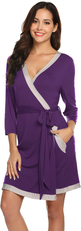 Womens Robe Super Soft Modal Cotton Robes 3 4 Sleeves Knit Bathrobe Short Sleepwear