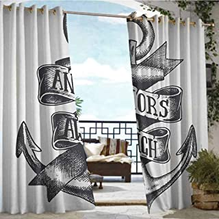 Indoor/Outdoor Single Panel Print Window Curtain Anchor,Tattoo Style Navy Symbol Sketch with Ribbon and Vintage Lettering Insignia,Charcoal Grey White,W96 xL96 Outdoor Curtain for Patio,Outdoor Pati