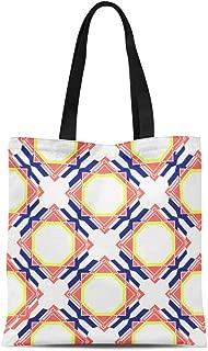 Semtomn Canvas Tote Bag Shoulder Bags Red Blue Announcement Geometric Trellis Pattern Navy Coral Orange Women's Handle Shoulder Tote Shopper Handbag