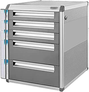 LIUYULONG Armoire de rangement verrouillable en alliage d'aluminium avec tiroirs de rangement pour bureau Format A4 Argent...