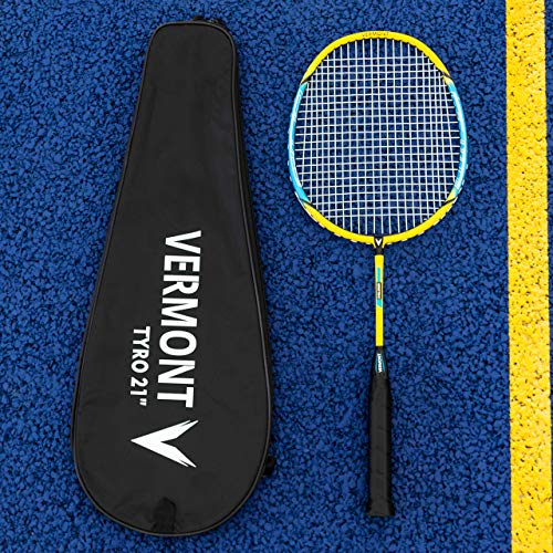 """Vermont Tyro Badminton Rackets   Three Sizes: 21"""", 23"""" & 27""""   The Perfect Beginners Racket   Durable Aluminum & Steel Racket Frame   Ideal for Schools & Clubs (21"""" (Kids))"""