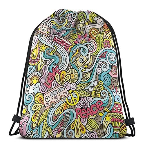 NA- Bolsa De Cuerdas Bolsa Piscina Mochila Con Cordones Para Niños Hippie Práctico Cómodo Cordón Robusto Niños Deporte Meriendas Mochila Con Cordones