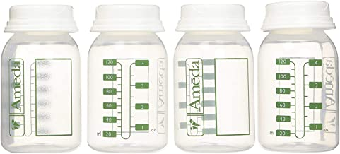 Ameda Breast Milk Storage Bottles Includes: (4) 4oz. Bottles with (4) 2-Piece Lock-Tight Caps, for Breast Milk Storage, Fits with Ameda Brand Pumps, Finesse & Most Standard Breast Pump Kits