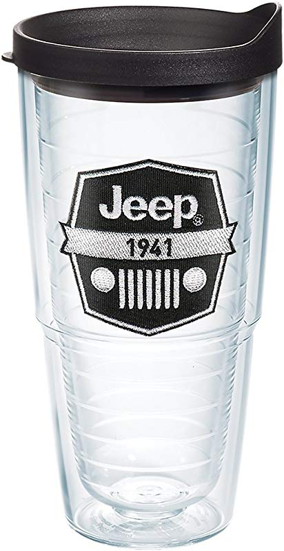 Tervis 1267875 Jeep Brand Logo Tumbler With Emblem And Black Lid 24oz Clear